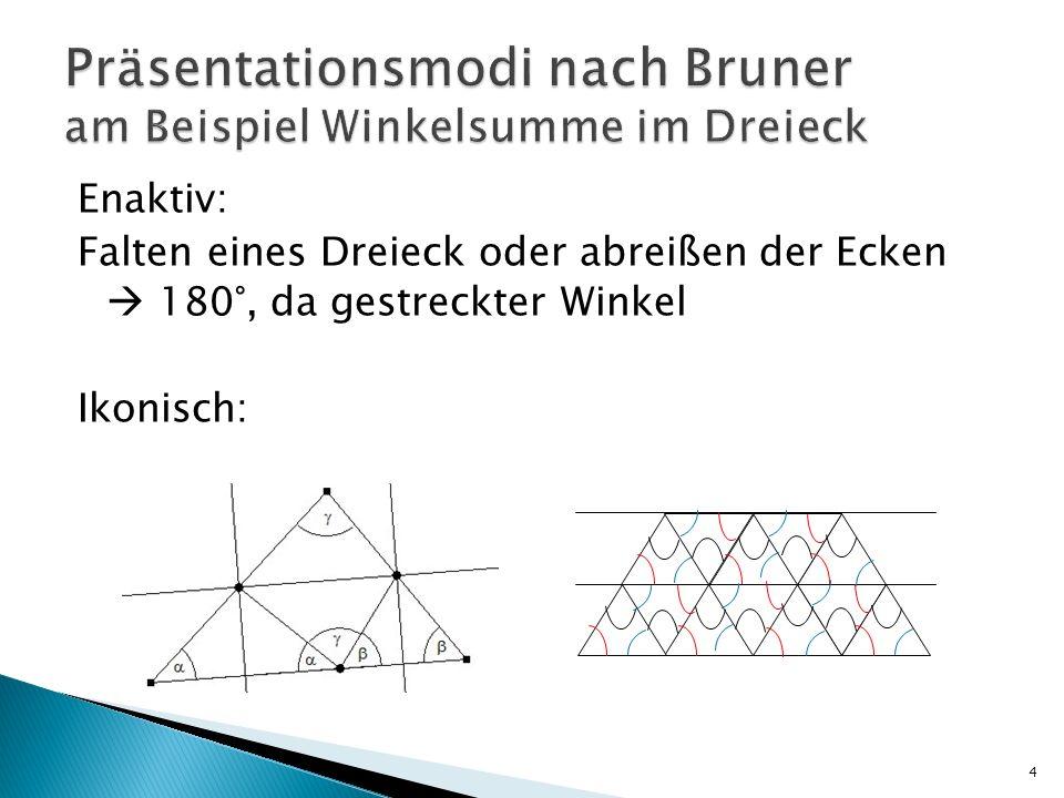 Enaktiv: Falten eines Dreieck oder abreißen der Ecken  180°, da gestreckter Winkel Ikonisch: 4