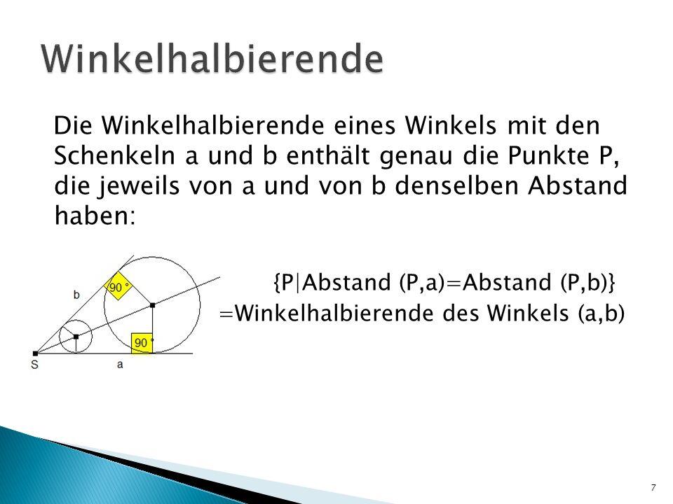 Die Winkelhalbierende eines Winkels mit den Schenkeln a und b enthält genau die Punkte P, die jeweils von a und von b denselben Abstand haben: {P|Abst