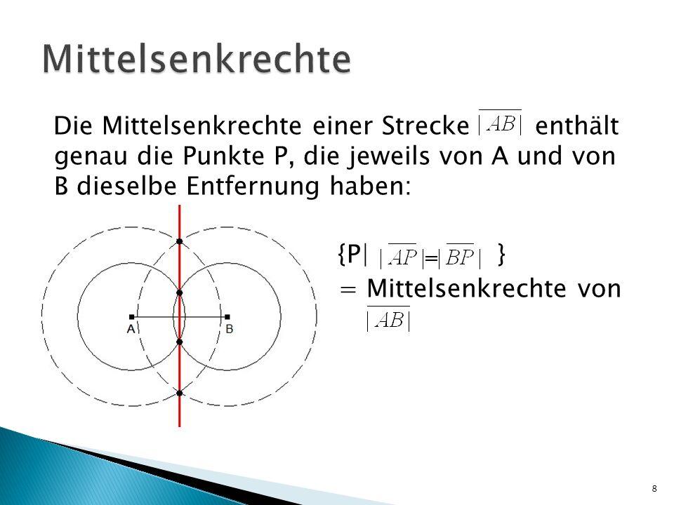 Die Mittelsenkrechte einer Strecke enthält genau die Punkte P, die jeweils von A und von B dieselbe Entfernung haben: {P| } = Mittelsenkrechte von 8