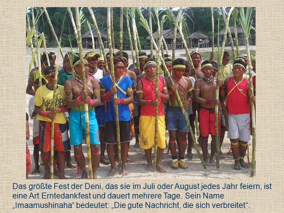 Das größte Fest der Deni, das sie im Juli oder August jedes Jahr feiern, ist eine Art Erntedankfest und dauert mehrere Tage.