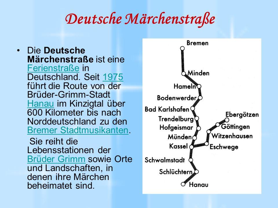 Deutsche Märchenstraße Viel Kunst und Kultur, acht Naturparks und reizvolle Mittelgebirgs- und Flusslandschaften liegen auf dem Weg, an dem die fachwerkbunten Dörfer und romantischen Städte der Brüder Grimm aufeinander folgen wie die Seiten in einem Geschichtsbuch.