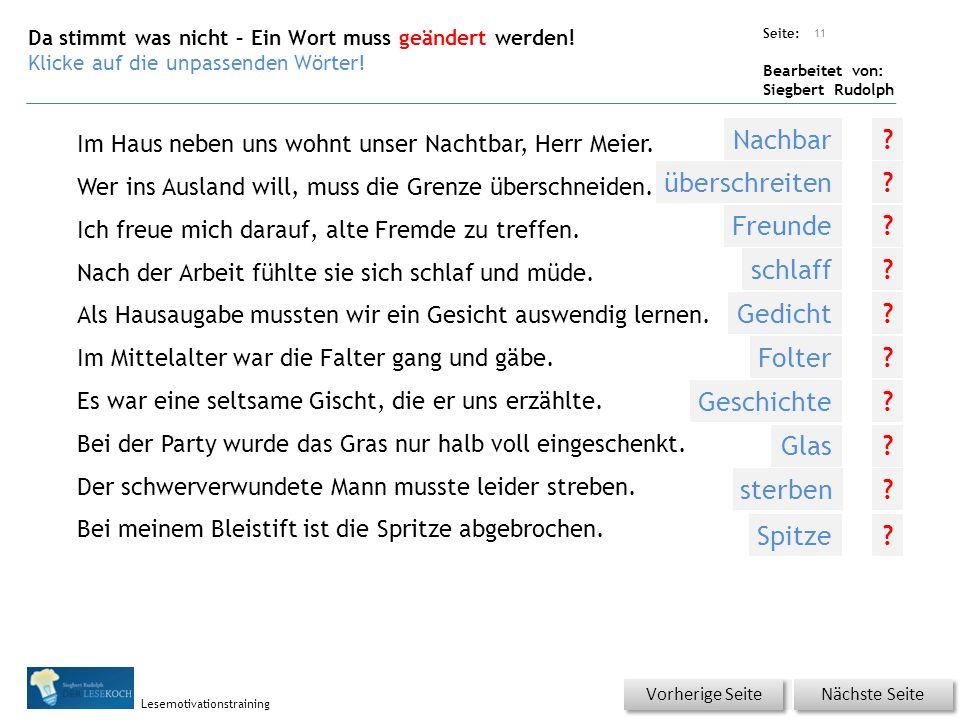 Übungsart: Seite: Bearbeitet von: Siegbert Rudolph Lesemotivationstraining Im Haus neben uns wohnt unser Nachtbar, Herr Meier.
