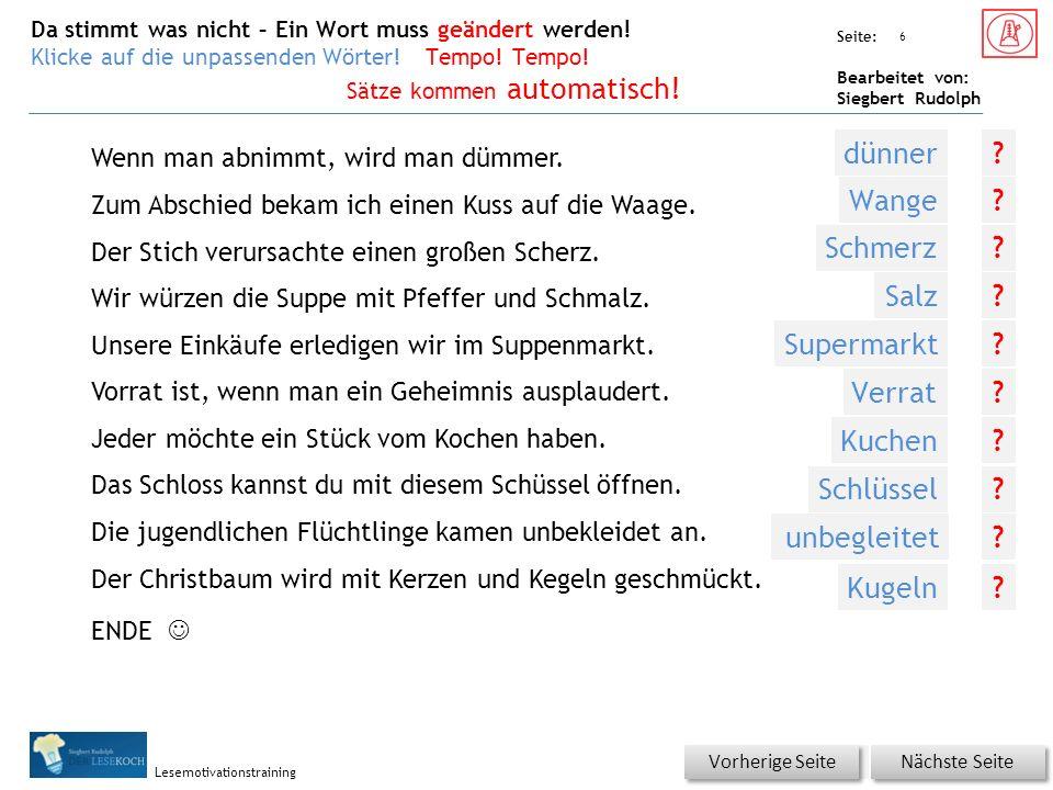 Übungsart: Seite: Bearbeitet von: Siegbert Rudolph Lesemotivationstraining Wenn man abnimmt, wird man dümmer.