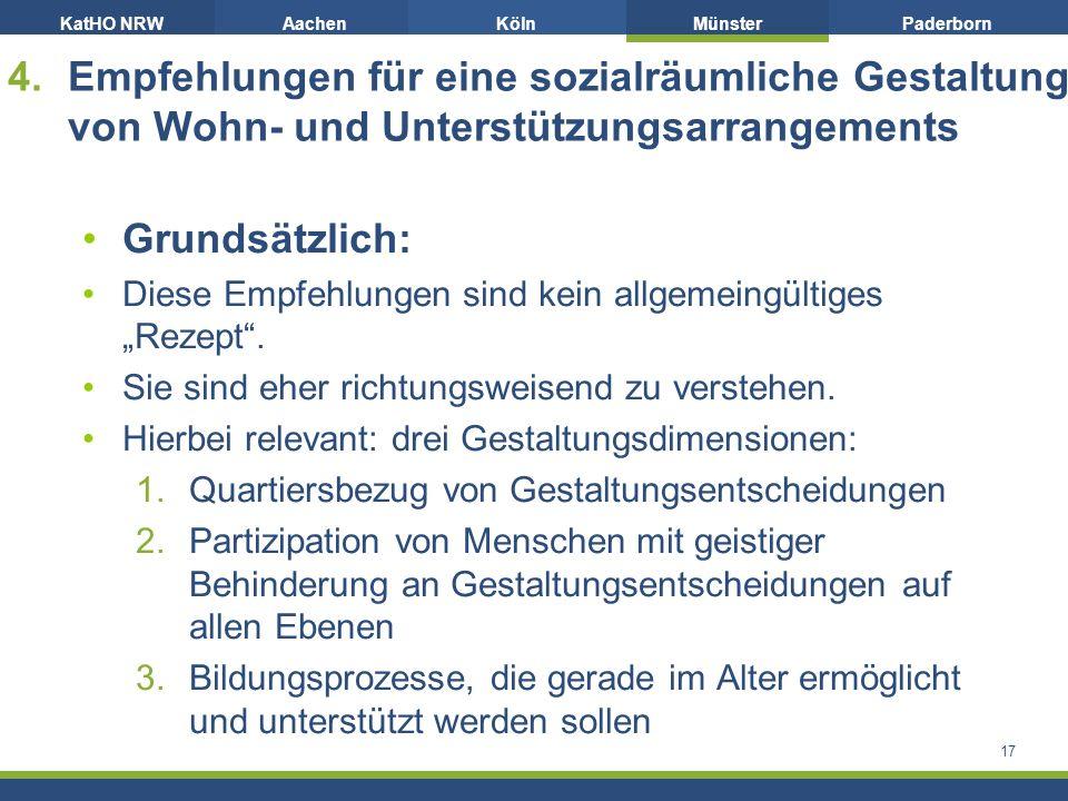 """KatHO NRWAachenKölnMünsterPaderborn 4.Empfehlungen für eine sozialräumliche Gestaltung von Wohn- und Unterstützungsarrangements Grundsätzlich: Diese Empfehlungen sind kein allgemeingültiges """"Rezept ."""