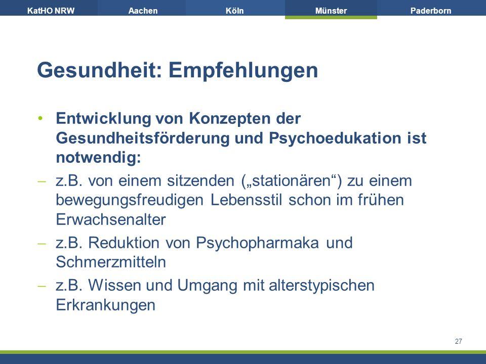 KatHO NRWAachenKölnMünsterPaderborn Gesundheit: Empfehlungen Entwicklung von Konzepten der Gesundheitsförderung und Psychoedukation ist notwendig:  z.B.