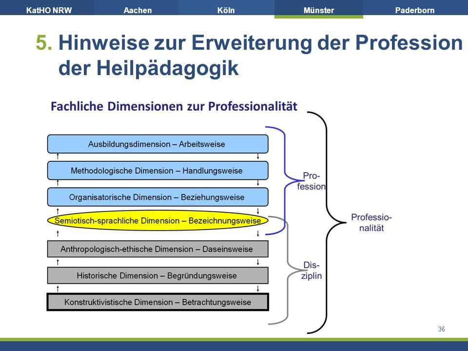 KatHO NRWAachenKölnMünsterPaderborn 5. Hinweise zur Erweiterung der Profession der Heilpädagogik 36