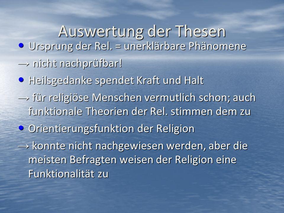 Auswertung der Thesen Ursprung der Rel. = unerklärbare Phänomene Ursprung der Rel.
