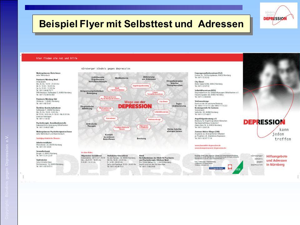Copyright: Bündnis gegen Depression e.V. Beispiel Flyer mit Selbsttest und Adressen