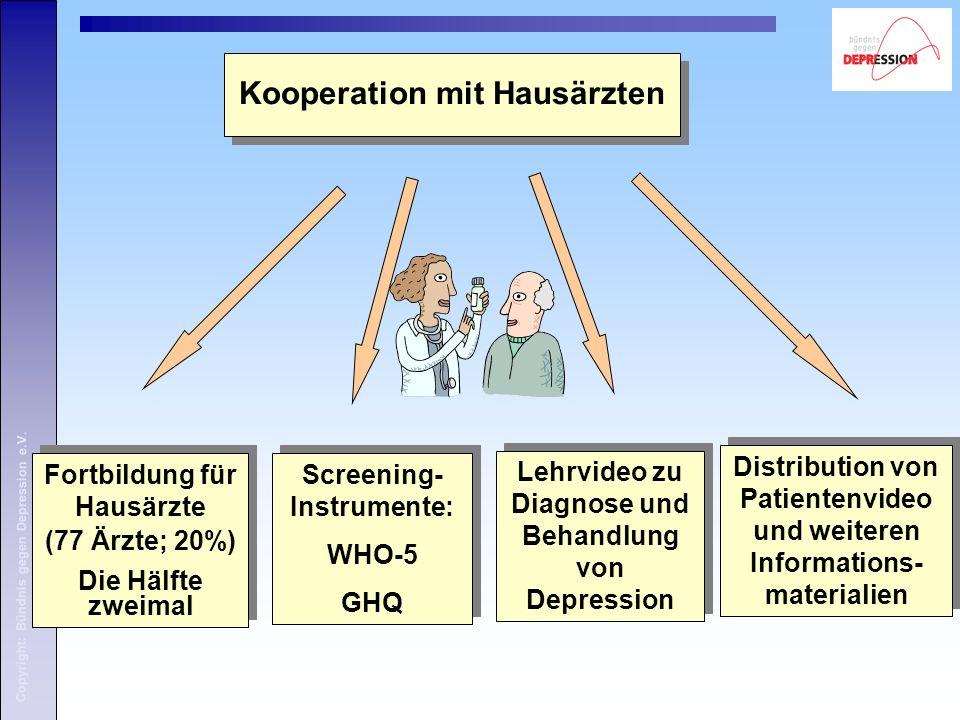 Copyright: Bündnis gegen Depression e.V.Kooperation mit Hausärzten: Fortbildung 1.