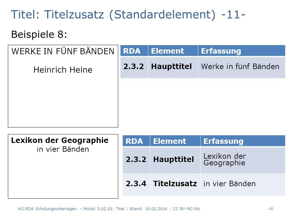 Titel: Titelzusatz (Standardelement) -11- Beispiele 8: RDAElementErfassung 2.3.2HaupttitelWerke in fünf Bänden WERKE IN FÜNF BÄNDEN Heinrich Heine Lex