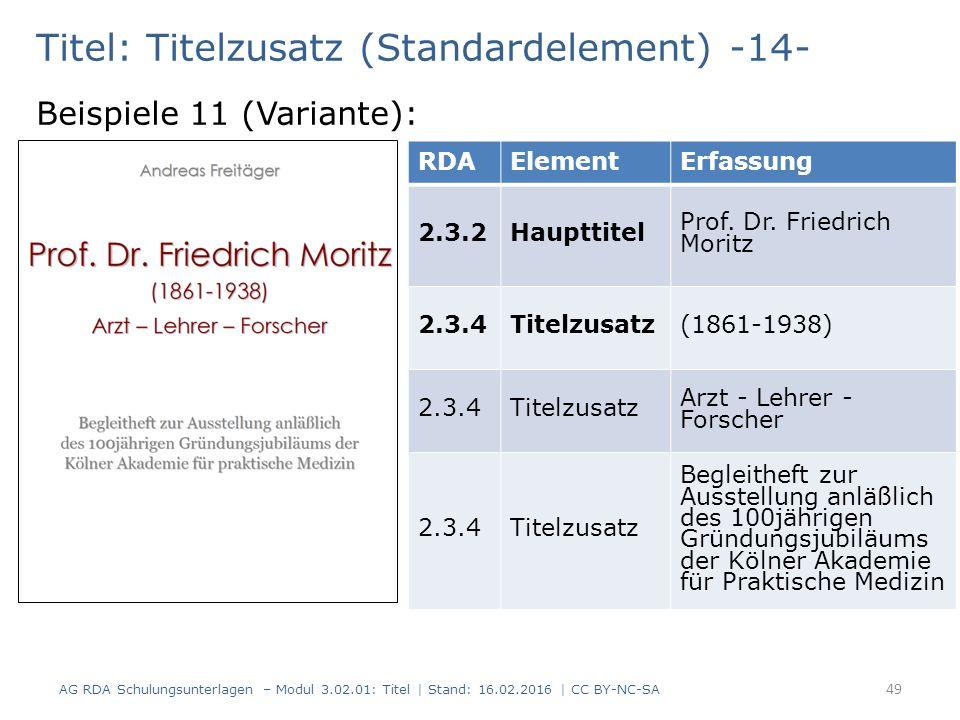 Titel: Titelzusatz (Standardelement) -14- Beispiele 11 (Variante): RDAElementErfassung 2.3.2Haupttitel Prof. Dr. Friedrich Moritz 2.3.4Titelzusatz(186