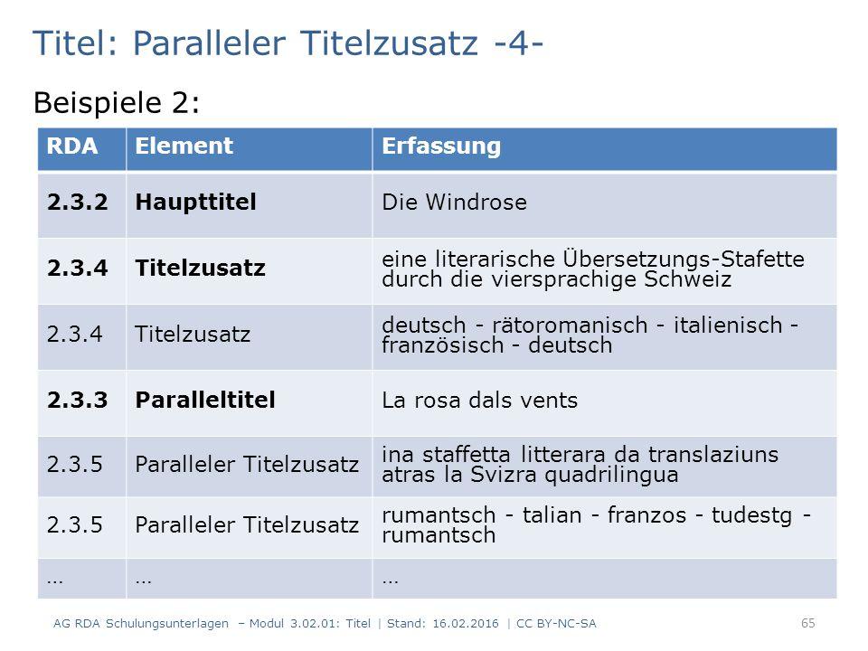 Titel: Paralleler Titelzusatz -4- Beispiele 2: RDAElementErfassung 2.3.2HaupttitelDie Windrose 2.3.4Titelzusatz eine literarische Übersetzungs-Stafette durch die viersprachige Schweiz 2.3.4Titelzusatz deutsch - rätoromanisch - italienisch - französisch - deutsch 2.3.3ParalleltitelLa rosa dals vents 2.3.5Paralleler Titelzusatz ina staffetta litterara da translaziuns atras la Svizra quadrilingua 2.3.5Paralleler Titelzusatz rumantsch - talian - franzos - tudestg - rumantsch ……… 65 AG RDA Schulungsunterlagen – Modul 3.02.01: Titel | Stand: 16.02.2016 | CC BY-NC-SA