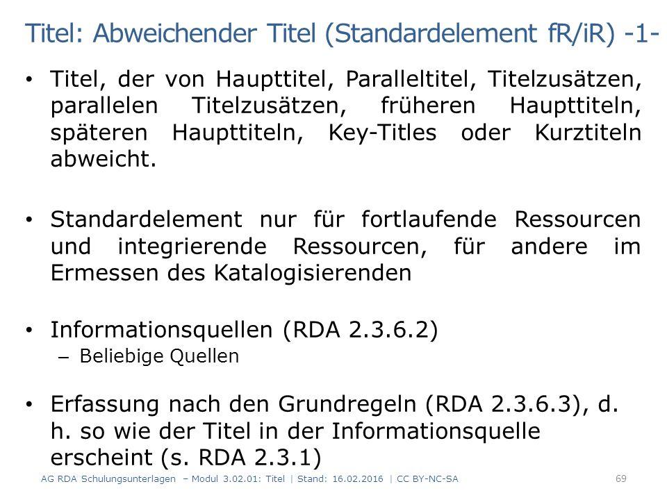 Titel: Abweichender Titel (Standardelement fR/iR) -1- Titel, der von Haupttitel, Paralleltitel, Titelzusätzen, parallelen Titelzusätzen, früheren Haup