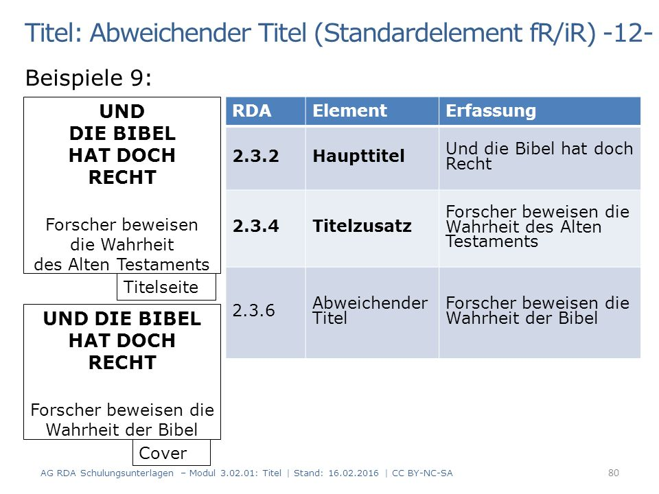 Titel: Abweichender Titel (Standardelement fR/iR) -12- Beispiele 9: UND DIE BIBEL HAT DOCH RECHT Forscher beweisen die Wahrheit der Bibel UND DIE BIBE