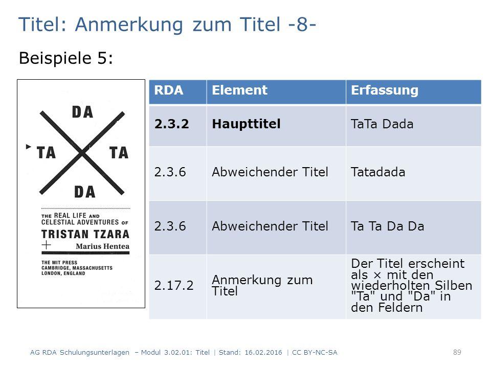 Titel: Anmerkung zum Titel -8- Beispiele 5: RDAElementErfassung 2.3.2HaupttitelTaTa Dada 2.3.6Abweichender TitelTatadada 2.3.6Abweichender TitelTa Ta Da Da 2.17.2 Anmerkung zum Titel Der Titel erscheint als × mit den wiederholten Silben Ta und Da in den Feldern 89 AG RDA Schulungsunterlagen – Modul 3.02.01: Titel | Stand: 16.02.2016 | CC BY-NC-SA