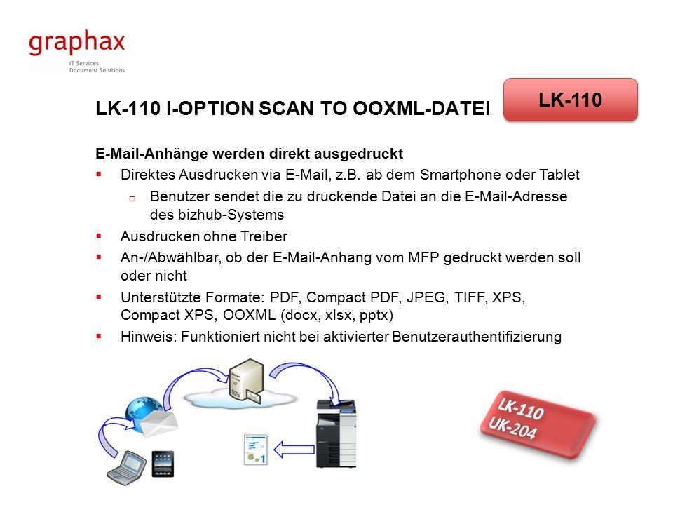 LK-110 I-OPTION SCAN TO OOXML-DATEI E-Mail-Anhänge werden direkt ausgedruckt  Direktes Ausdrucken via E-Mail, z.B.