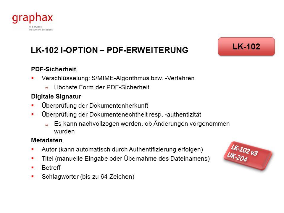 LK-102 I-OPTION – PDF-ERWEITERUNG PDF/A ist  definiert für die langfristige Archivierung von digitalisierten Dokumenten  Basierend auf PDF-Version 1.4  Definiert als ISO-Norm (ISO19005)  Potenzieller Nachfolger des TIFF-Formats für Archivierungen LK-102