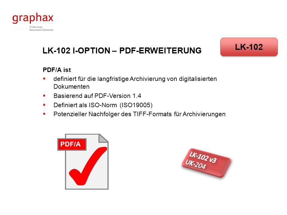 LK-102 I-OPTION – PDF-ERWEITERUNG PDF/A 1b (Basis)  Minimaler Übereinstimmungspegel für PDF/A  Das gerenderte visuelle Erscheinungsbild der Datei ist reproduzierbar  Stellt sicher, dass der Text (und zusätzliche Inhalte) korrekt angezeigt werden (z.B auf einem Monitor), garantiert aber nicht, dass der enthaltene Text auch lesbar oder verständlich ist LK-102