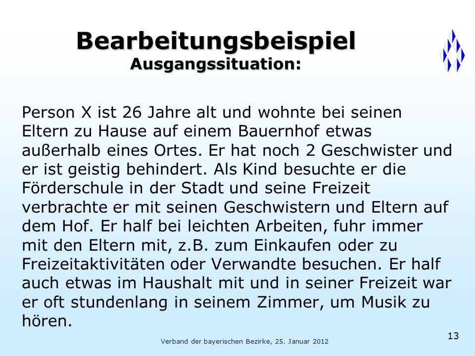 Verband der bayerischen Bezirke, 25. Januar 2012 13 Bearbeitungsbeispiel Ausgangssituation: Person X ist 26 Jahre alt und wohnte bei seinen Eltern zu