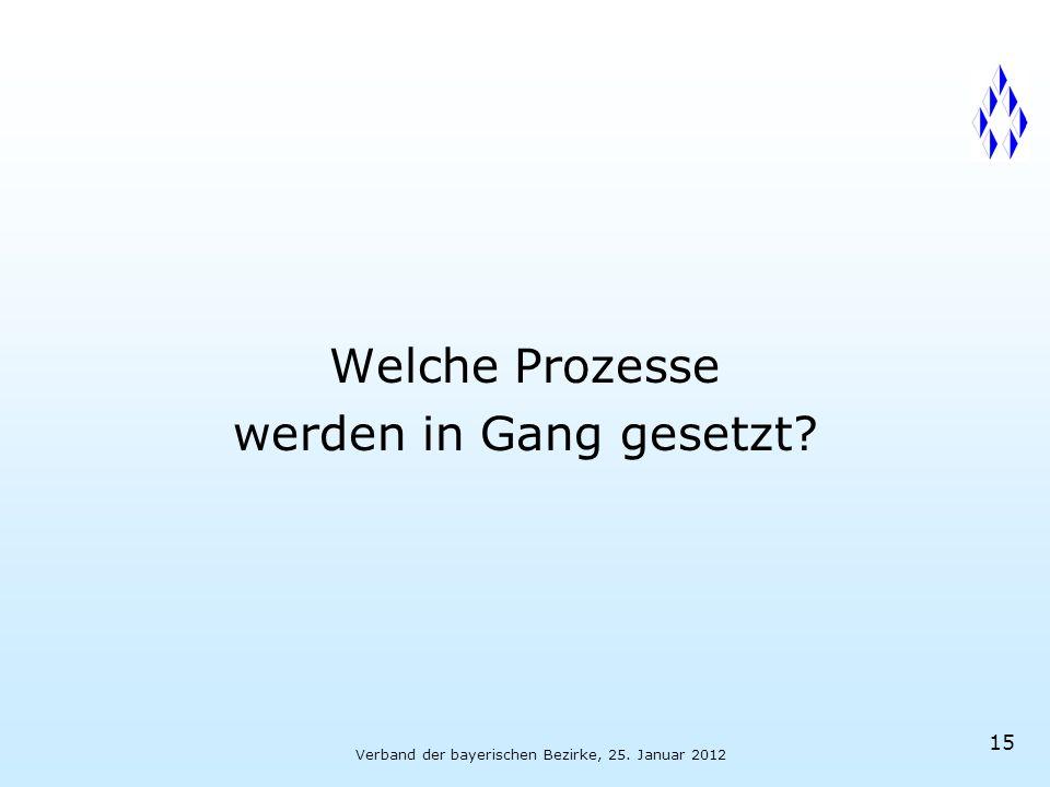 Verband der bayerischen Bezirke, 25. Januar 2012 15 Welche Prozesse werden in Gang gesetzt
