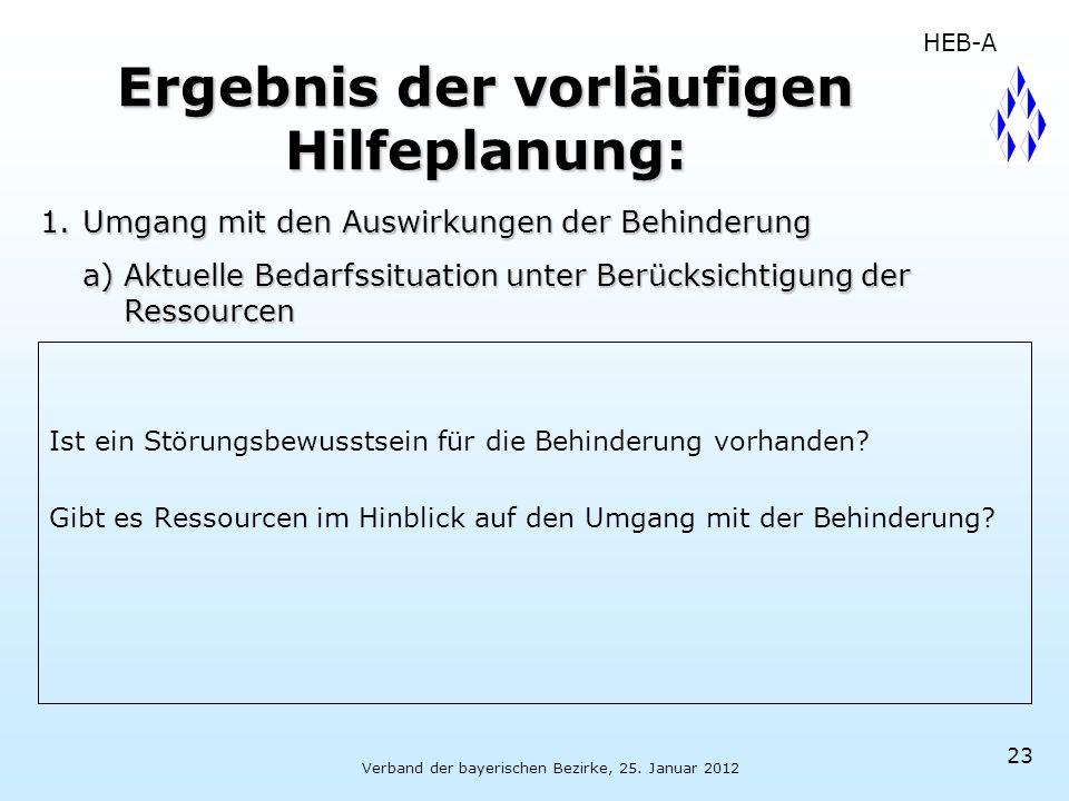 Verband der bayerischen Bezirke, 25. Januar 2012 23 Ergebnis der vorläufigen Hilfeplanung: Ist ein Störungsbewusstsein für die Behinderung vorhanden?