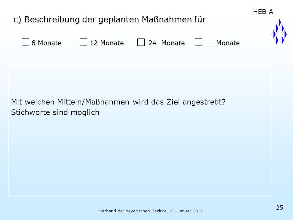Verband der bayerischen Bezirke, 25. Januar 2012 25 6 Monate 12 Monate 24 Monate Monate 6 Monate 12 Monate 24 Monate Monate Mit welchen Mitteln/Maßnah