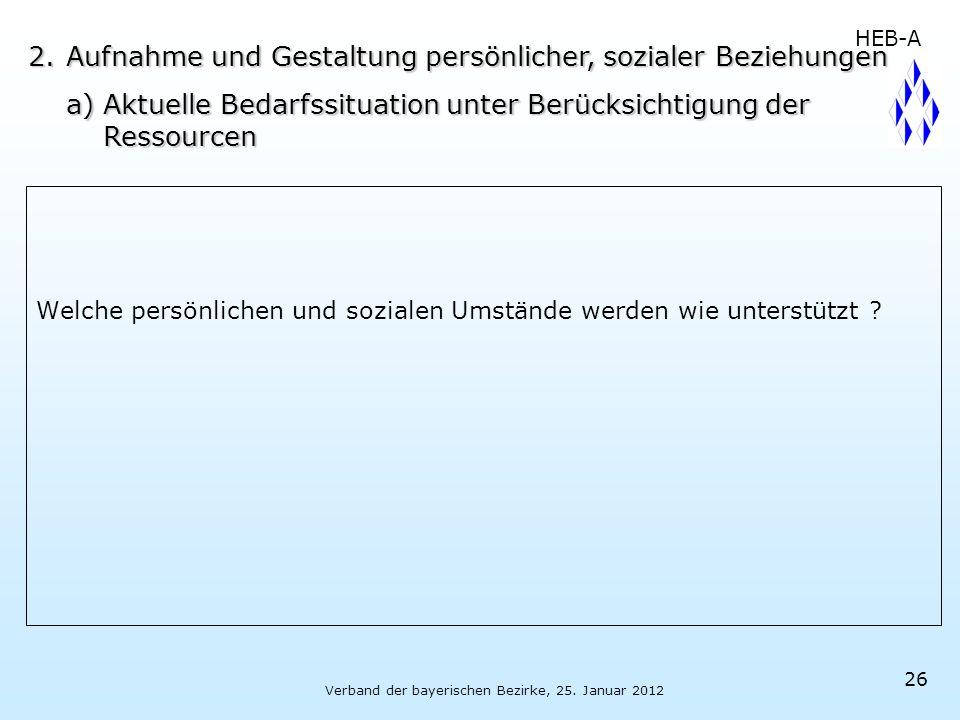 Verband der bayerischen Bezirke, 25. Januar 2012 26 Welche persönlichen und sozialen Umstände werden wie unterstützt ? 2.Aufnahme und Gestaltung persö