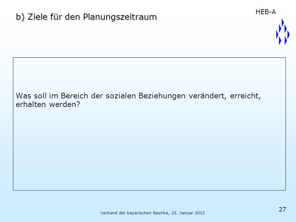 Verband der bayerischen Bezirke, 25. Januar 2012 27 b) Ziele für den Planungszeitraum Was soll im Bereich der sozialen Beziehungen verändert, erreicht