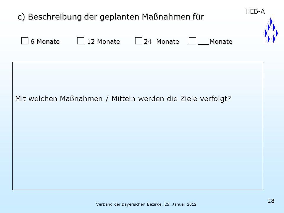 Verband der bayerischen Bezirke, 25. Januar 2012 28 6 Monate 12 Monate 24 Monate Monate 6 Monate 12 Monate 24 Monate Monate Mit welchen Maßnahmen / Mi