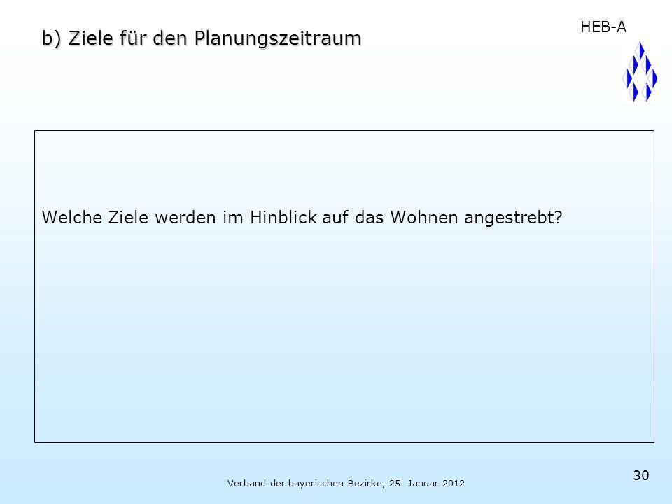 Verband der bayerischen Bezirke, 25. Januar 2012 30 b) Ziele für den Planungszeitraum Welche Ziele werden im Hinblick auf das Wohnen angestrebt? HEB-A