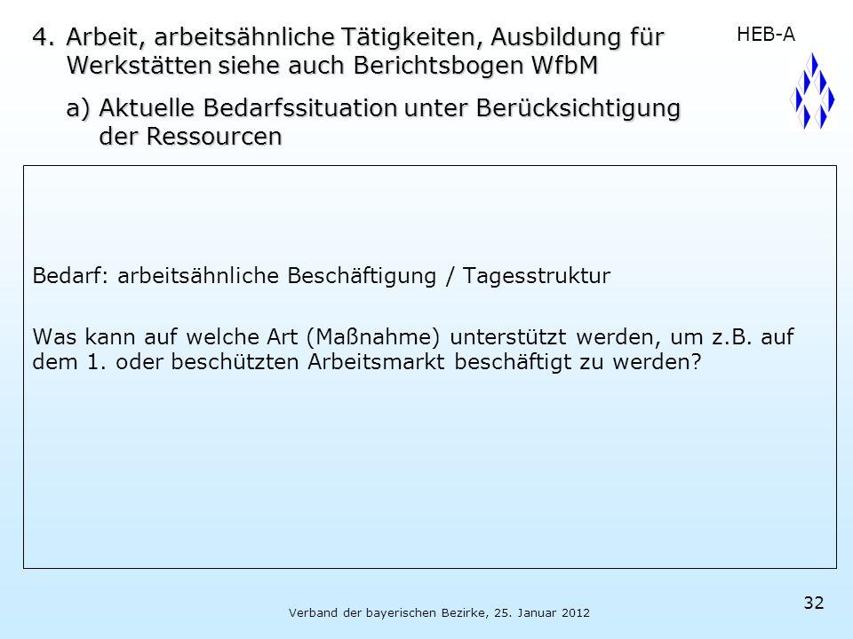 Verband der bayerischen Bezirke, 25. Januar 2012 32 Bedarf:arbeitsähnliche Beschäftigung / Tagesstruktur Was kann auf welche Art (Maßnahme) unterstütz