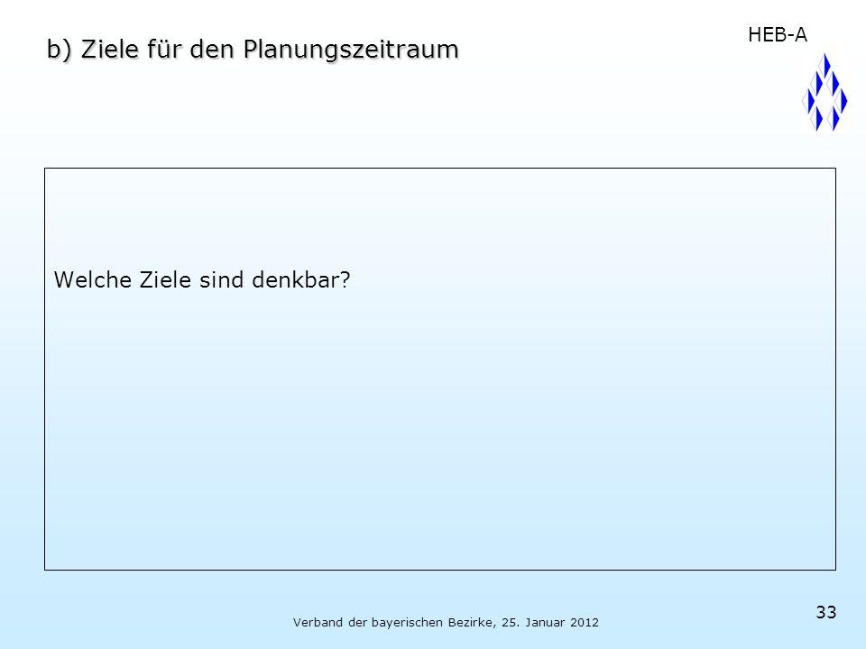 Verband der bayerischen Bezirke, 25. Januar 2012 33 b) Ziele für den Planungszeitraum Welche Ziele sind denkbar? HEB-A