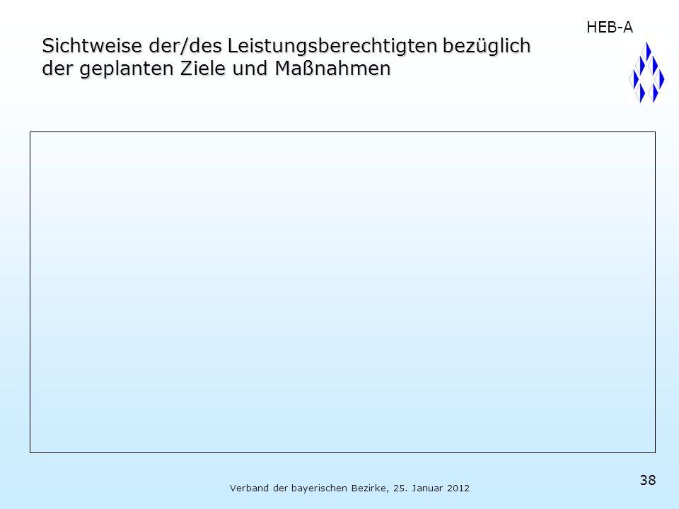 Verband der bayerischen Bezirke, 25. Januar 2012 38 Sichtweise der/des Leistungsberechtigten bezüglich der geplanten Ziele und Maßnahmen HEB-A