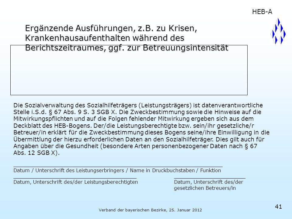 Verband der bayerischen Bezirke, 25. Januar 2012 Ergänzende Ausführungen, z.B. zu Krisen, Krankenhausaufenthalten während des Berichtszeitraumes, ggf.