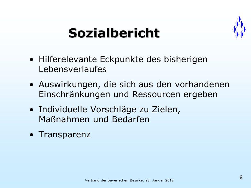 Verband der bayerischen Bezirke, 25. Januar 2012 8 Sozialbericht Hilferelevante Eckpunkte des bisherigen Lebensverlaufes Auswirkungen, die sich aus de