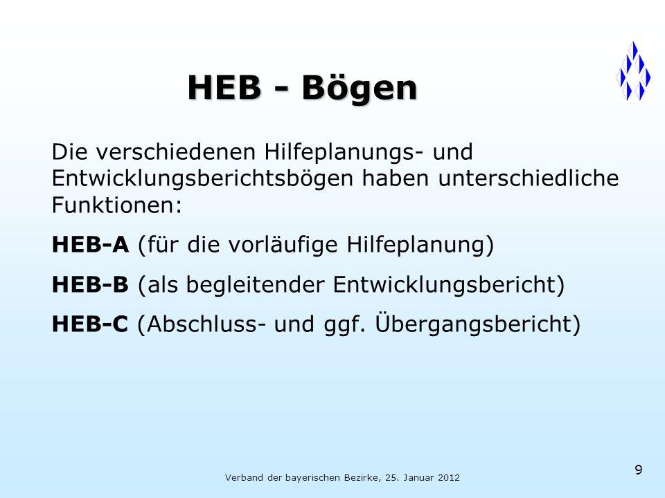 Verband der bayerischen Bezirke, 25. Januar 2012 9 HEB - Bögen Die verschiedenen Hilfeplanungs- und Entwicklungsberichtsbögen haben unterschiedliche F