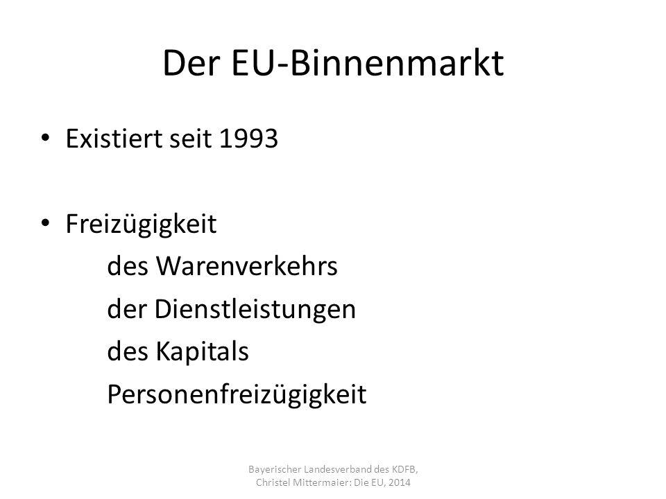 Der EU-Binnenmarkt Existiert seit 1993 Freizügigkeit des Warenverkehrs der Dienstleistungen des Kapitals Personenfreizügigkeit Bayerischer Landesverband des KDFB, Christel Mittermaier: Die EU, 2014