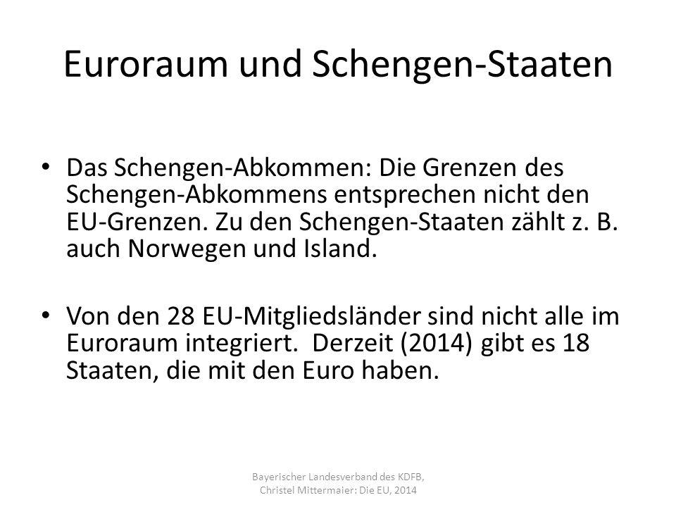 Euroraum und Schengen-Staaten Das Schengen-Abkommen: Die Grenzen des Schengen-Abkommens entsprechen nicht den EU-Grenzen.