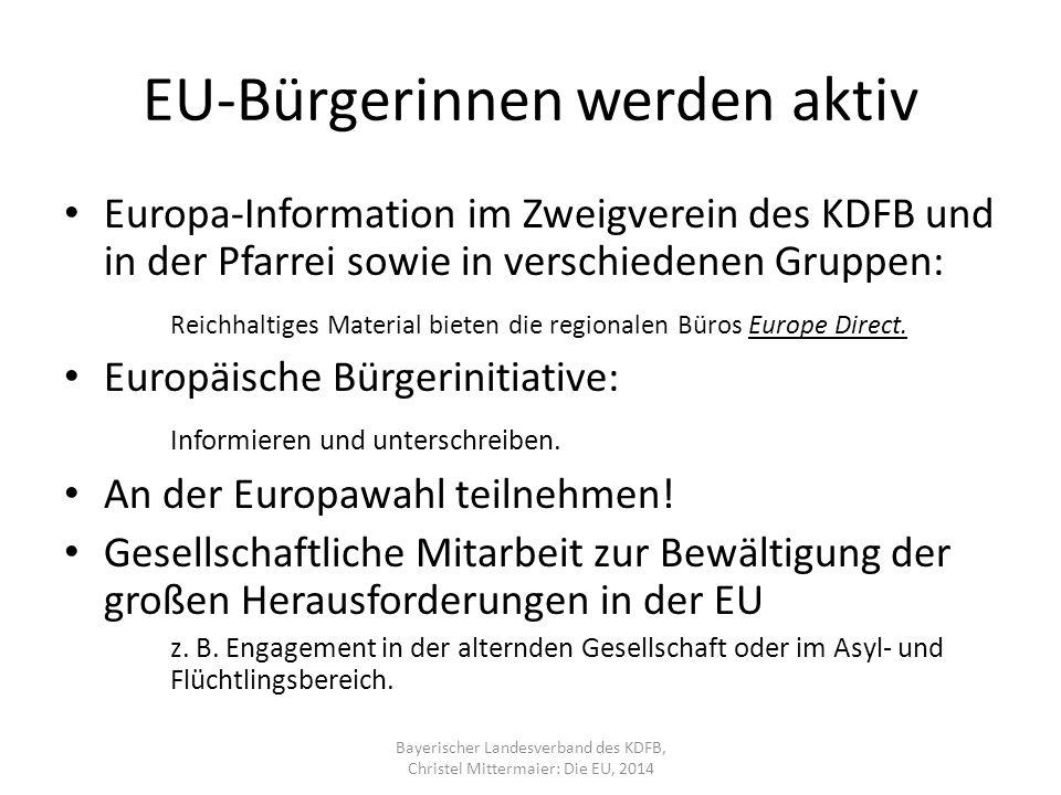 EU-Bürgerinnen werden aktiv Europa-Information im Zweigverein des KDFB und in der Pfarrei sowie in verschiedenen Gruppen: Reichhaltiges Material bieten die regionalen Büros Europe Direct.