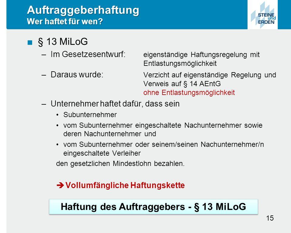 Auftraggeberhaftung Wer haftet für wen.
