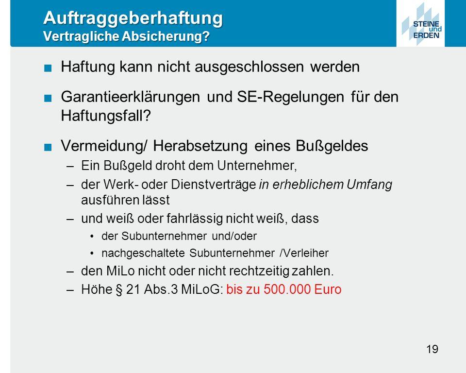 Auftraggeberhaftung Vertragliche Absicherung.