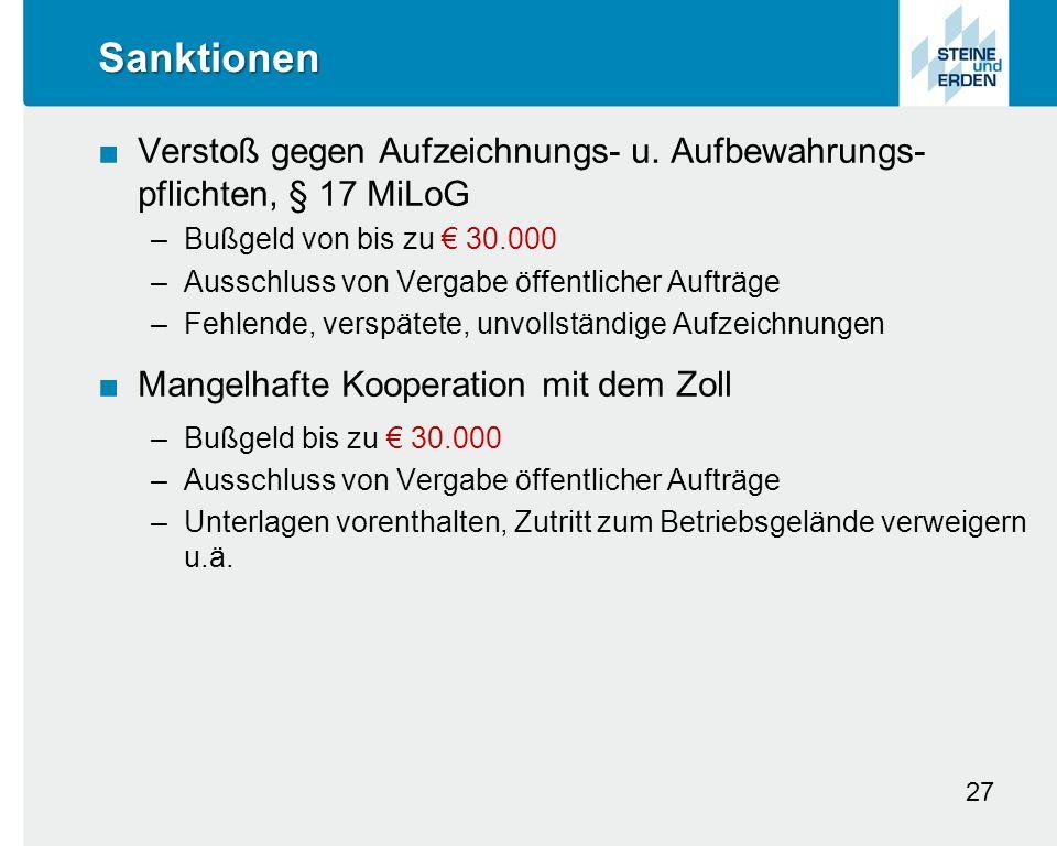 Sanktionen ■Verstoß gegen Aufzeichnungs- u.