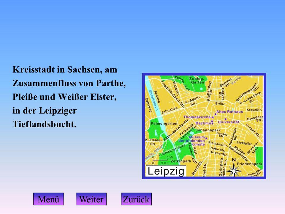 Kreisstadt in Sachsen, am Zusammenfluss von Parthe, Pleiße und Weißer Elster, in der Leipziger Tieflandsbucht. ZurückMenüWeiter