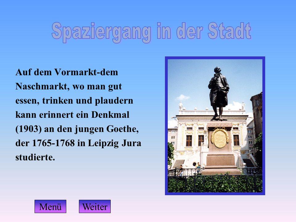 Auf dem Vormarkt-dem Naschmarkt, wo man gut essen, trinken und plaudern kann erinnert ein Denkmal (1903) an den jungen Goethe, der 1765-1768 in Leipzi