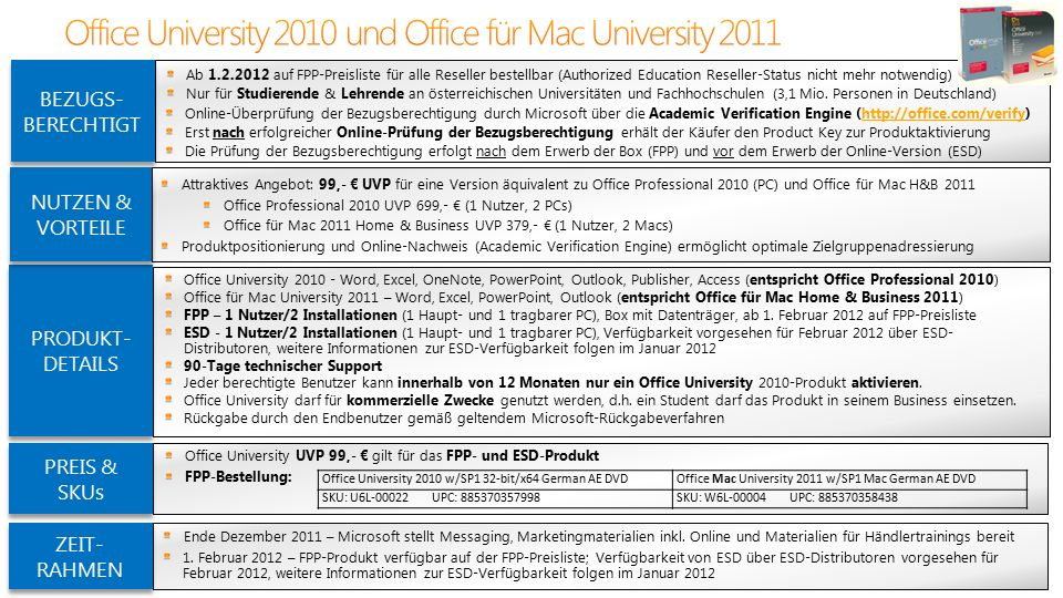 Office University 2010 - Word, Excel, OneNote, PowerPoint, Outlook, Publisher, Access (entspricht Office Professional 2010) Office für Mac University 2011 – Word, Excel, PowerPoint, Outlook (entspricht Office für Mac Home & Business 2011) FPP – 1 Nutzer/2 Installationen (1 Haupt- und 1 tragbarer PC), Box mit Datenträger, ab 1.
