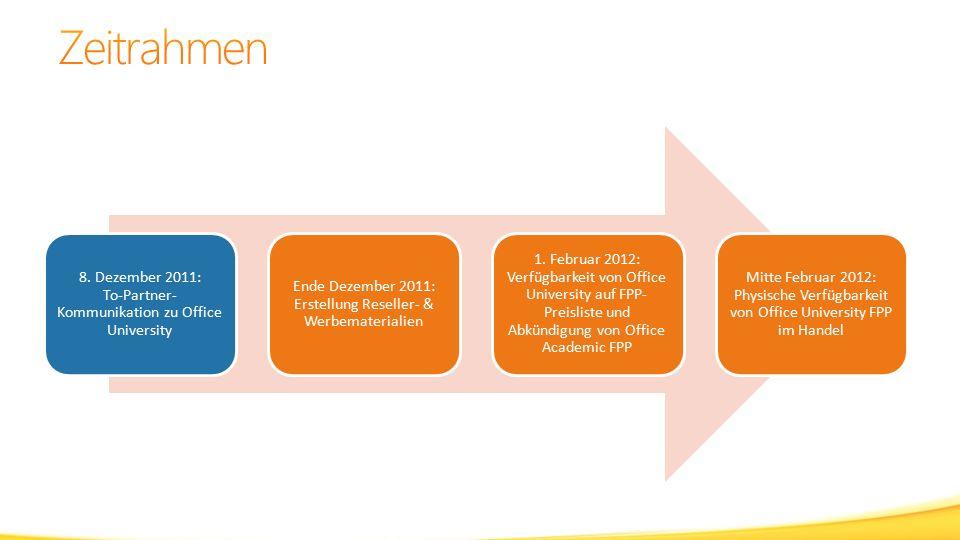 8. Dezember 2011: To-Partner- Kommunikation zu Office University Ende Dezember 2011: Erstellung Reseller- & Werbematerialien 1. Februar 2012: Verfügba