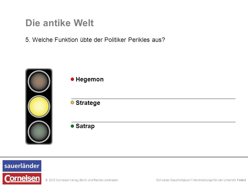 Schweizer Geschichtsbuch 1 Handreichungen für den Unterricht Folie 0© 2012 Cornelsen Verlag, Berlin. Alle Rechte vorbehalten. Die antike Welt 5. Welch