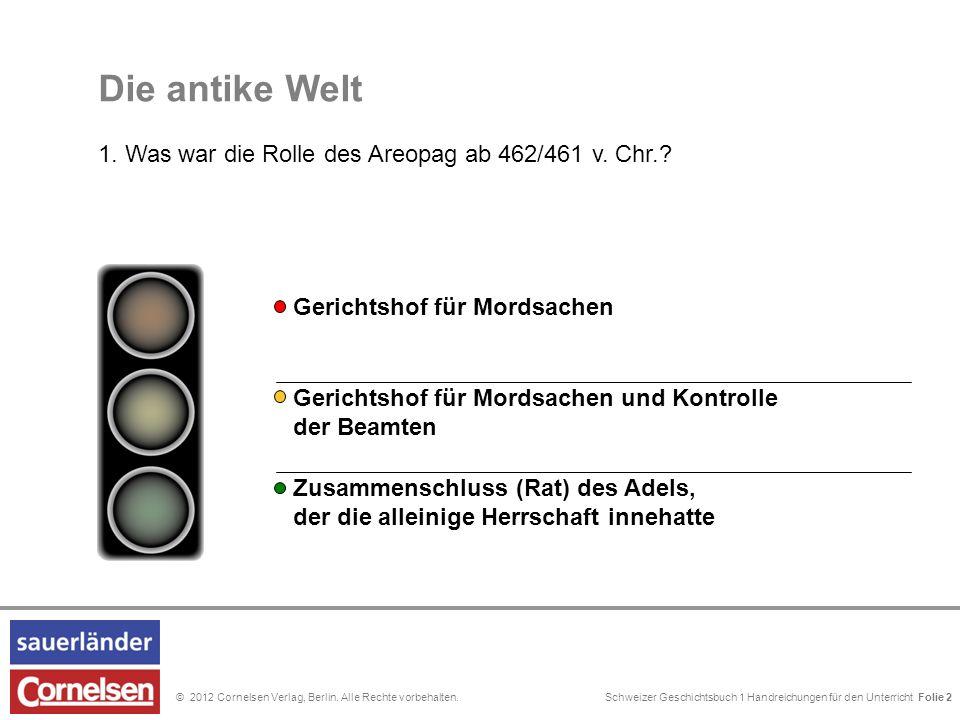 Schweizer Geschichtsbuch 1 Handreichungen für den Unterricht Folie 0© 2012 Cornelsen Verlag, Berlin. Alle Rechte vorbehalten. Die antike Welt 1. Was w