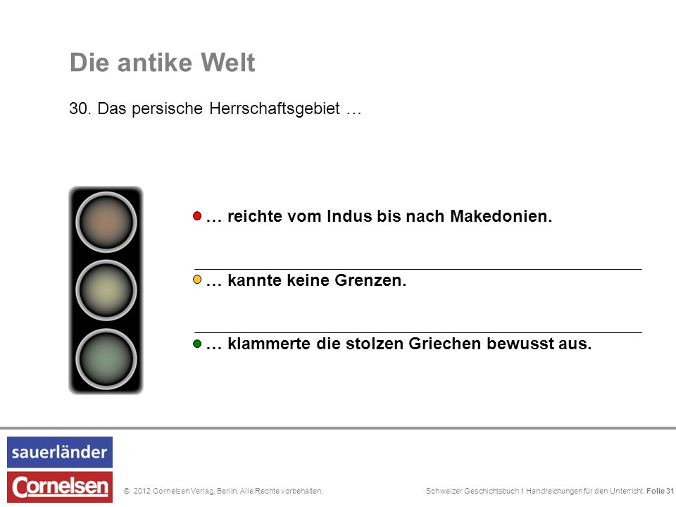 Schweizer Geschichtsbuch 1 Handreichungen für den Unterricht Folie 0© 2012 Cornelsen Verlag, Berlin. Alle Rechte vorbehalten. Die antike Welt 30. Das