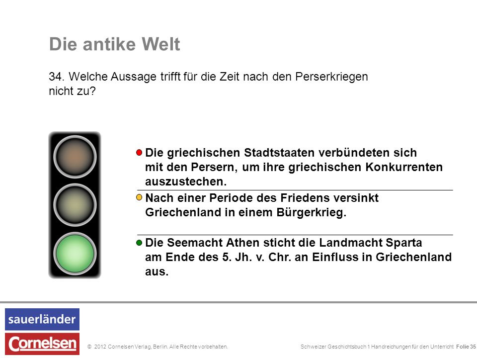 Schweizer Geschichtsbuch 1 Handreichungen für den Unterricht Folie 0© 2012 Cornelsen Verlag, Berlin. Alle Rechte vorbehalten. Folie 35 Nach einer Peri
